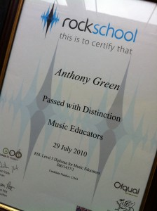 Rockschool AJ Green Guitar Tuition Diploma